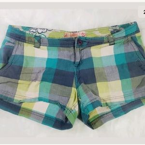 Billabong Sz 3 Plaid Blu Green Short Shorts